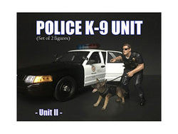 Police Officer Figure with K9 Dog Unit II for 1/24 Diecast Models by American Diorama