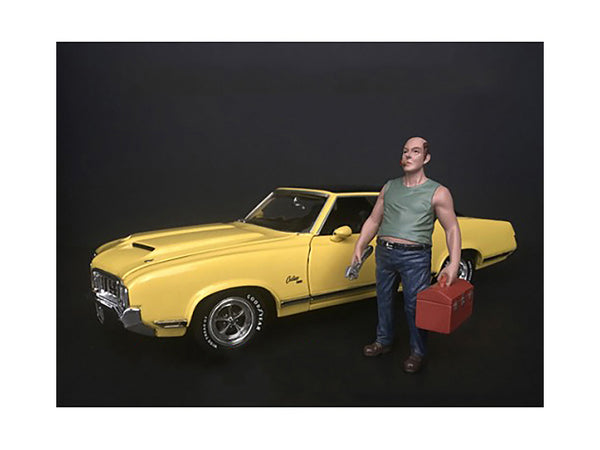 Mechanic Sam with Tool Box Figure for 1/24 Scale Diecast Models by American Diorama
