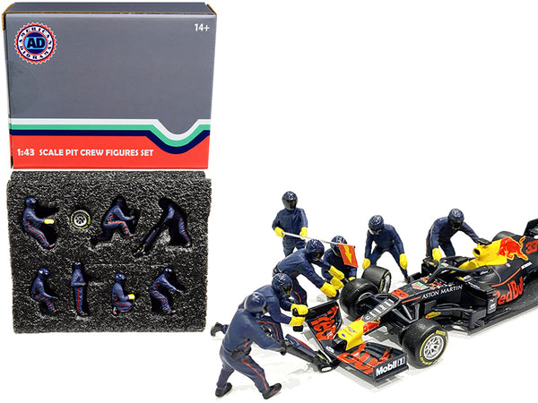 Formula One F1 Pit Crew (7 Figure Set) Team Blue for 1/43 Scale Models by American Diorama