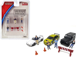 """Street Racing"" (7 Piece Diorama Set - includes 4 Figures and 3 Accessories) for 1/64 Scale Models by American Diorama"