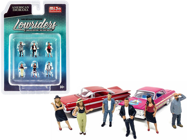 """Lowriders"" Diecast Models (6 Piece Figure Set) for 1/64 Scale Models by American Diorama"