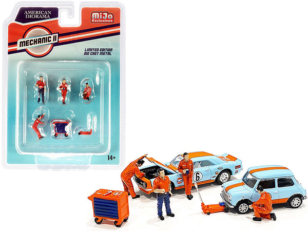 """Mechanic II"" Diecast Models (6 Piece Set - 4 Figures and 2 Accessories) for 1/64 Scale Models by American Diorama"""