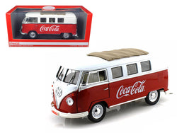 "1962 Volkswagen Samba Bus  ""Coca Cola"" Red/White 1/18 Diecast Model by Motorcity Classics"