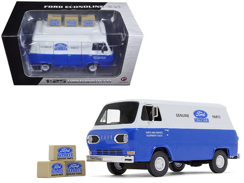 1960's Ford Econoline Van Blue with Three Boxes Ford Tractor Parts & Service 1/25 Diecast Model by First Gear