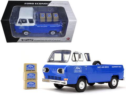 1960's Ford Econoline Pickup Blue with Boxes Ford Tractor Parts & Service 1/25 Diecast Model by First Gear