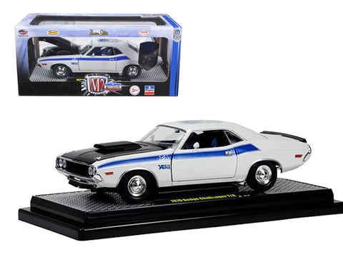 "1970 Dodge Challenger T/A 340 ""Six Pack"" Pearl White 75th Mopar Anniversary 1/24 Diecast Model Car by M2 Machines"