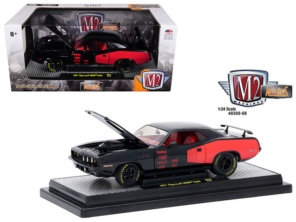 1971 Plymouth Hemi Cuda Gloss Black with Bright Red Stripes 1/24 Diecast Model Car by M2 Machines