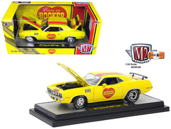 "1971 Plymouth Hemi Cuda ""Hooker Headers"" Yellow Limited Edition to 5800 pieces Worldwide 1/24 Diecast Model Car by M2 Machines"