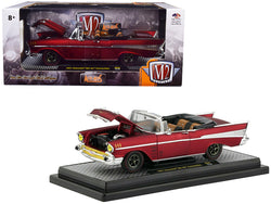 "1957 Chevrolet Bel Air Convertible Satin Red ""Auto-Mods"" Limited Edition to 5880 pieces Worldwide 1/24 Diecast Model Car by M2 Machines"