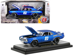"1969 Chevrolet Camaro Z/28 #6 Satin Royal Blue with Bright White Stripes ""Auto-Mods"" Limited Edition to 5880 pieces Worldwide 1/24 Diecast Model Car by M2 Machines"