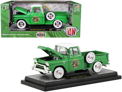 "1958 GMC Stepside Pickup Truck Aspen Green with Bright White Top ""HAYS"" Limited Edition to 5880 pieces Worldwide 1/24 Diecast Model by M2 Machines"