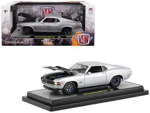 1970 Ford Mustang Boss 429 Matte Silver Limited Edition to 5,880 pieces Worldwide 1/24 Diecast Model Car by M2 Machines