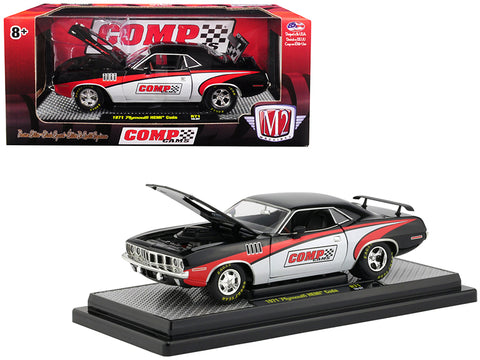 "1971 Plymouth HEMI Barracuda ""Comp Cams"" Black with White and Red Limited Edition to 5880 pieces Worldwide 1/24 Diecast Model Car by M2 Machines"