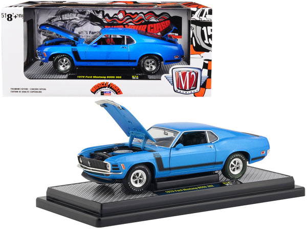 1970 Ford Mustang BOSS 302 Medium Blue Metallic with Black Stripe Limited Edition to 5,880 pieces Worldwide 1/24 Diecast Model Car by M2 Machines