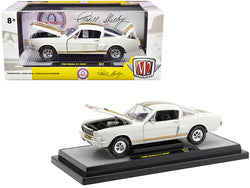 1966 Ford Mustang Shelby GT350H Wimbledon White with Gold Stripes Limited Edition to 5,880 pieces Worldwide 1/24 Diecast Model Car by M2 Machines