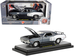 1971 Plymouth Barracuda 340 Winchester Gray Metallic with White Stripes Limited Edition to 5,880 pieces Worldwide 1/24 Diecast Model Car by M2 Machines