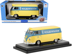 "1960 Volkswagen Delivery Van Yukon Yellow Dove with Blue Stripe ""Volkswagenwerk GMBH"" Limited Edition to 5,880 pieces Worldwide 1/24 Diecast Model by M2 Machines"