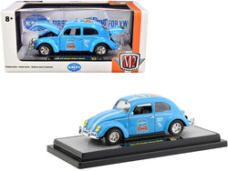 "1952 Volkswagen Beetle Deluxe Model ""EMPI"" Light Blue with White Stripes Limited Edition to 6880 pieces Worldwide 1/24 Diecast Model Car by M2 Machines"