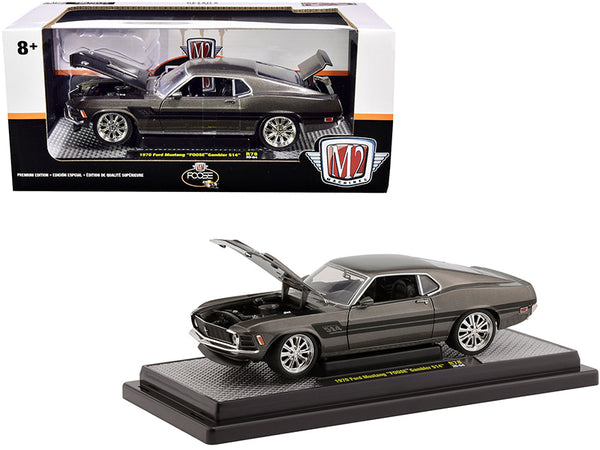 "1970 Ford Mustang ""Foose"" Gambler 514 Jaguar British Racing Green Metallic with Black Stripes Limited Edition to 6880 pieces Worldwide 1/24 Diecast Model Car by M2 Machines"