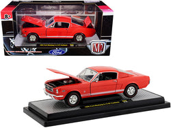 1965 Ford Mustang 2+2 GT Fastback Rangoon Red with White Stripes Limited Edition to 7,000 pieces Worldwide 1/24 Diecast Model Car by M2 Machines