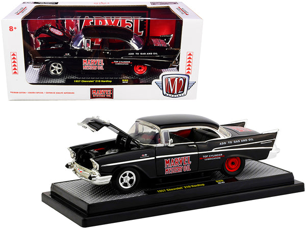 "1957 Chevrolet 210 Hardtop ""Marvel Mystery Oil"" Black Limited Edition to 7,000 pieces Worldwide 1/24 Diecast Model Car by M2 Machines"