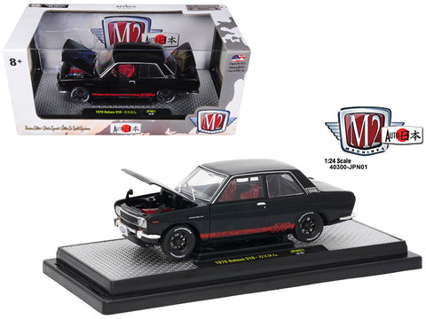 "1970 Datsun 510 ""Auto-Japan"" Gloss Black with Bright Red Stripes 1/24 Diecast Model Car by M2 Machines"