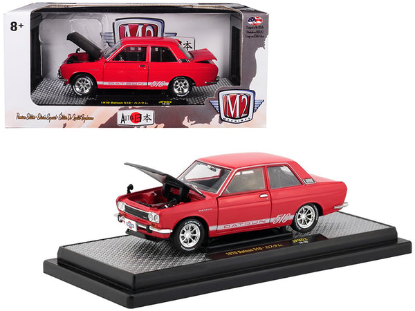 "1970 Datsun 510 Red with White Stripes and Black Hood ""Auto Japan"" Limited Edition to 5880 pieces Worldwide 1/24 Diecast Model Car by M2 Machines"