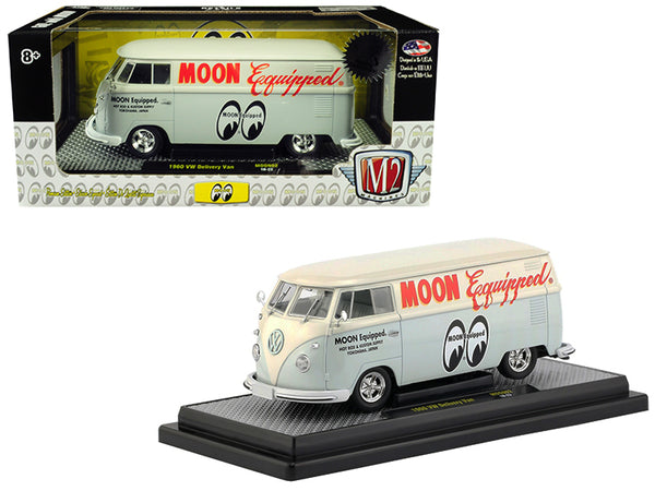 "1960 Volkswagen Delivery Van ""Moon Equipped"" Light Blue with White Top Limited Edition to 5,880 pieces Worldwide 1/24 Diecast Model by M2 Machines"