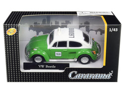 "Volkswagen Beetle ""Taxi"" Green and White 1/43 Diecast Model Car by Cararama"