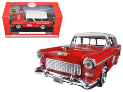 "1955 Chevrolet Nomad ""Coca Cola"" with 2 bottle cases and metal handcart 1/24 Diecast Model Car  by Motorcity Classics"