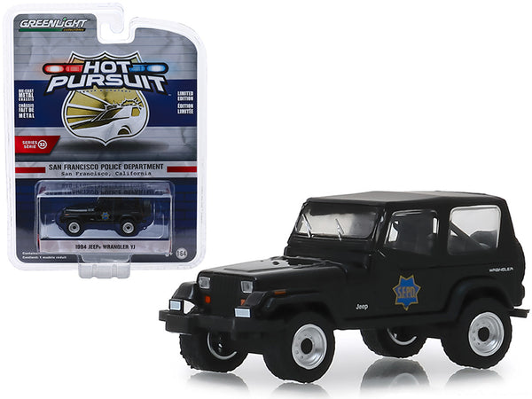 "1994 Jeep Wrangler YJ ""San Francisco Police Department"" (SFPD) Black ""Hot Pursuit"" Series #32 1/64 Diecast Model Car by Greenlight"