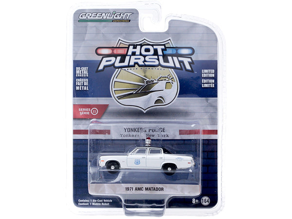 "1971 AMC Matador ""Yonkers Police"" (New York) White and Black ""Hot Pursuit"" Series #35 1/64 Diecast Model Car by Greenlight"