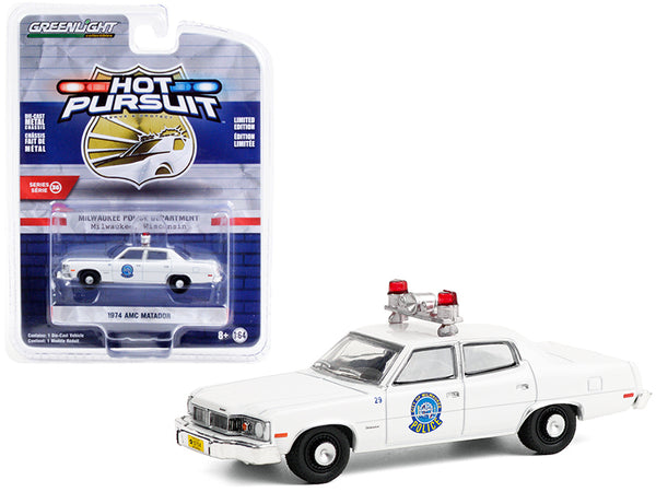 "1974 AMC Matador White ""Milwaukee, Wisconsin Police Department"" ""Hot Pursuit"" Series #36 1/64 Diecast Model Car by Greenlight"