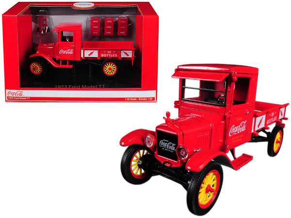 "1923 Ford Model TT ""Coca-Cola"" Pickup Truck with 9 ""Coca-Cola"" Cases and Hand Cart 1/32 Diecast Model by Motorcity Classics"