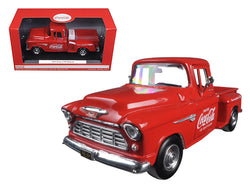 "1955 Chevrolet Stepside Pickup Truck ""Coca Cola"" with Commercial Cooler 1/24 Diecast Model by Motorcity Classics"