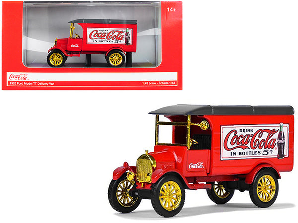 "1926 Ford Model T Delivery Van ""Coca-Cola"" Red with Gold Wheels 1/43 Diecast Model by Motorcity Classics"