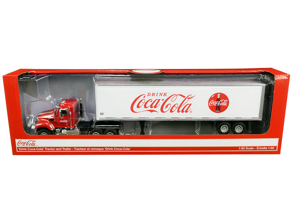 "Truck Tractor with 53' Trailer ""Drink Coca-Cola"" Red and White 1/50 Diecast Model by Motorcity Classics"