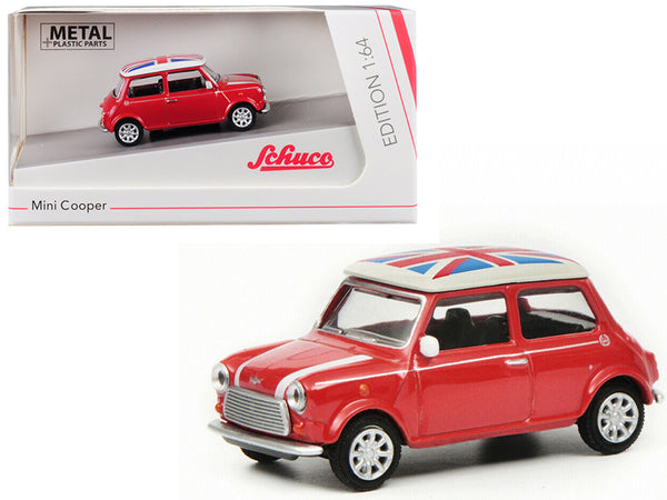 "Mini Cooper ""Union Jack"" Red 1/64 Diecast Model Car by Schuco"