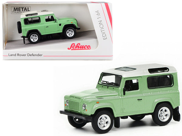 Land Rover Defender Green with White Top 1/64 Diecast Model Car by Schuco