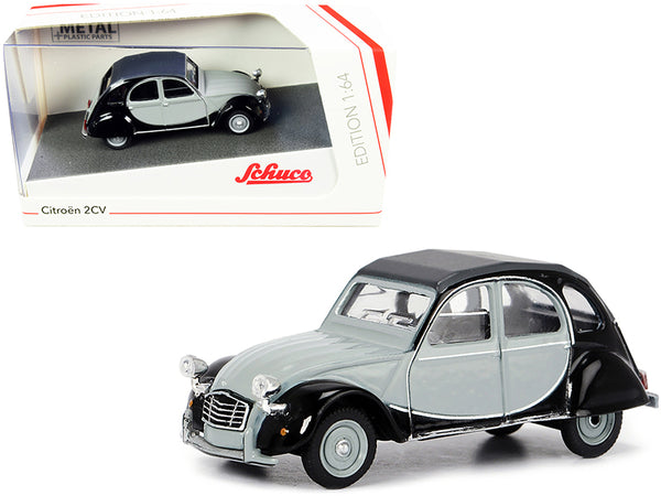 "Citroen 2CV ""Charleston"" Gray and Black 1/64 Diecast Model Car by Schuco"