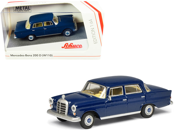 Mercedes Benz 200 D (W110) Heckflosse (Fintail) Dark Blue 1/64 Diecast Model Car by Schuco