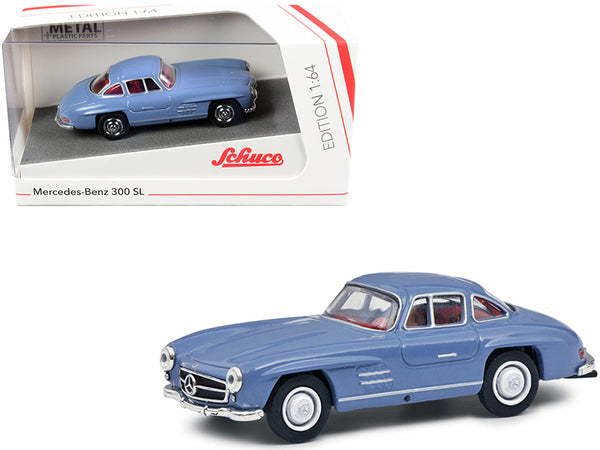 Mercedes Benz 300 SL Blue with Red Interior 1/64 Diecast Model Car by Schuco