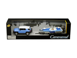 Toyota FJ Cruiser with Speed Boat and Trailer Blue and White 1/43 Diecast Models by Cararama