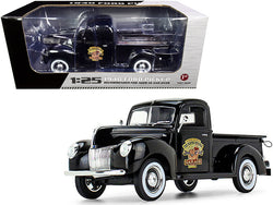"1940 Ford Pickup Truck Black ""The Busted Knuckle Garage"" 1/25 Diecast Model by First Gear"