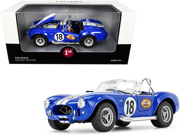 "Shelby Cobra 427 S/C #18 Blue with White Stripes ""The Busted Knuckle Garage"" 1/24 Diecast Model Car by First Gear"
