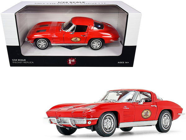 "1963 Chevrolet Corvette Red ""The Busted Knuckle Garage"" 1/24 Diecast Model Car by First Gear"