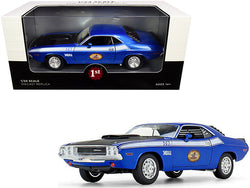 "1970 Dodge Challenger T/A 340 Six Pack Blue Metallic with Black Hood and White Stripes \The Busted Knuckle Garage"" 1/24 Diecast Model Car by First Gear"""