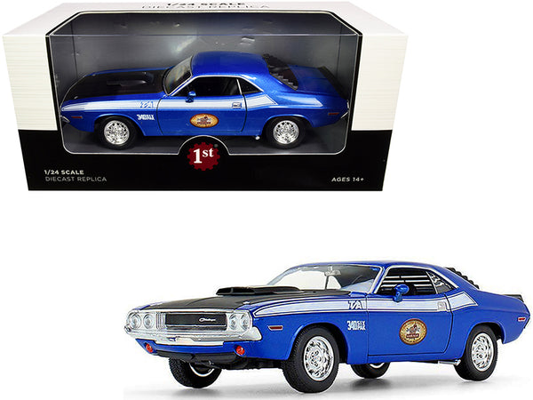 "1970 Dodge Challenger T/A 340 Six Pack Blue Metallic with Black Hood and White Stripes ""The Busted Knuckle Garage"" 1/24 Diecast Model Car by First Gear"