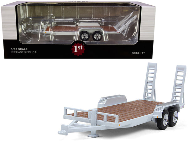 Tandem-Axle Tag Trailer Oxford White 1/50 Diecast Model by First Gear