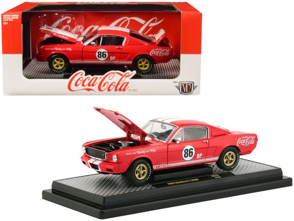 "1965 Ford Mustang Shelby G.T. 350R #86 ""Coca-Cola"" Coke Red Limited Edition to 9,600 pieces Worldwide 1/24 Diecast Model Car by M2 Machines"